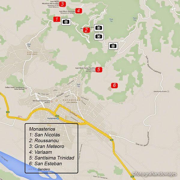 Plano de monasterios de Meteora