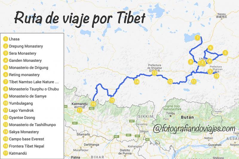 Ruta de viaje por tibet