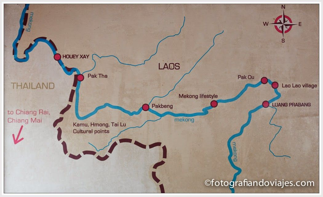 Recorrido del barco por el rio Mekong hasta Luang Prabang