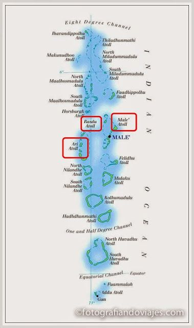 Mapa Maldivas buceo