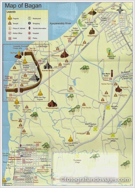 Mapa de la zona arqueológica de Bagan