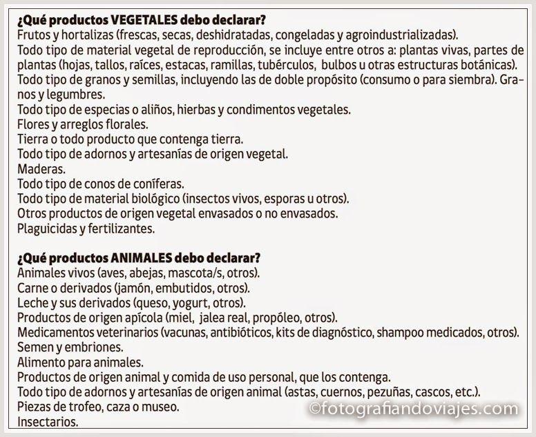 alimentos prohibidos en la aduana Chile