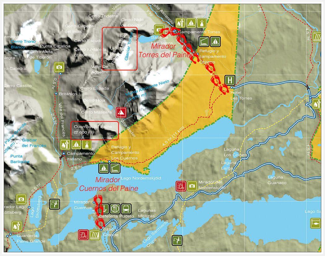 Circuito W Torres Del Paine Mapa : Circuito w en torres del paine en refugios tours en latinoamerica