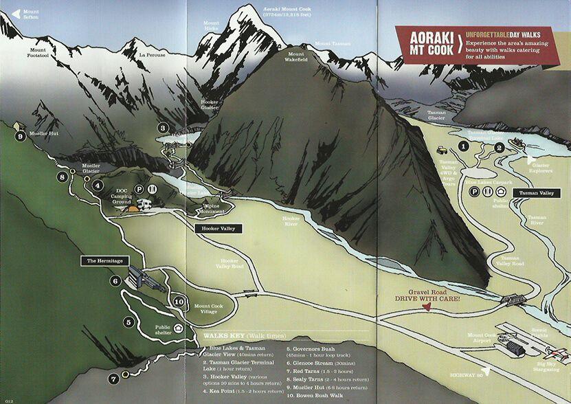 Mapa Hooker y Tasman Valley en Monte Cook Aoraki