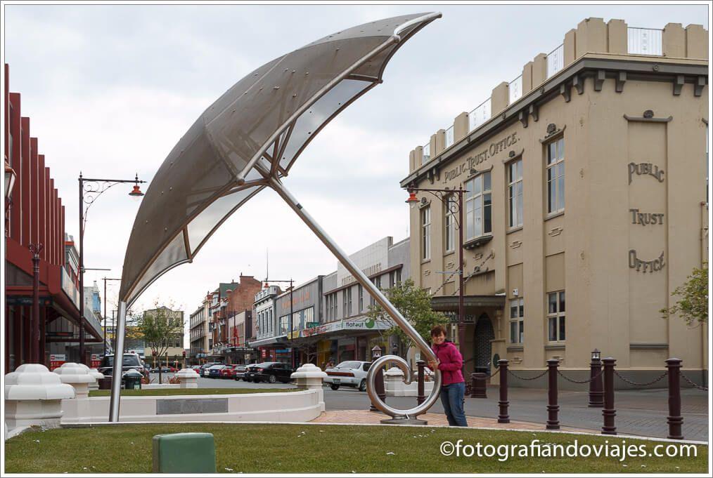 "Monumento ""paraguas"" en Invercargill"