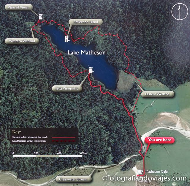 mapa trekking lago Matheson