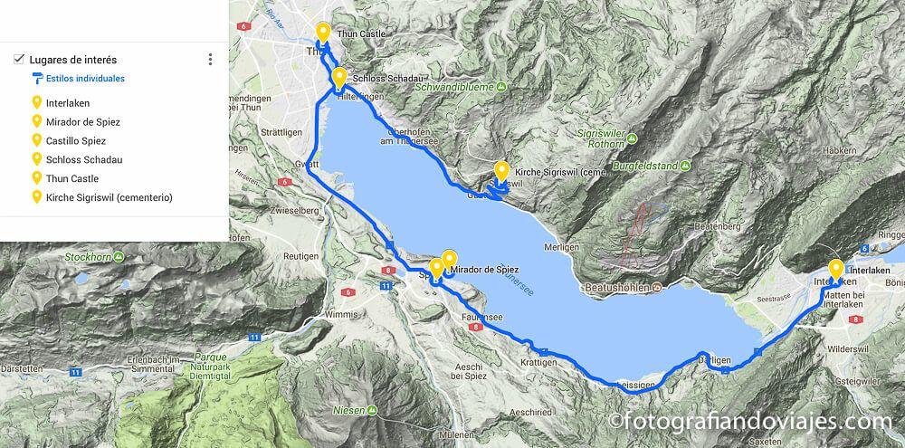 Recorrido por el lago Thun (aquí el mapa interactivo)