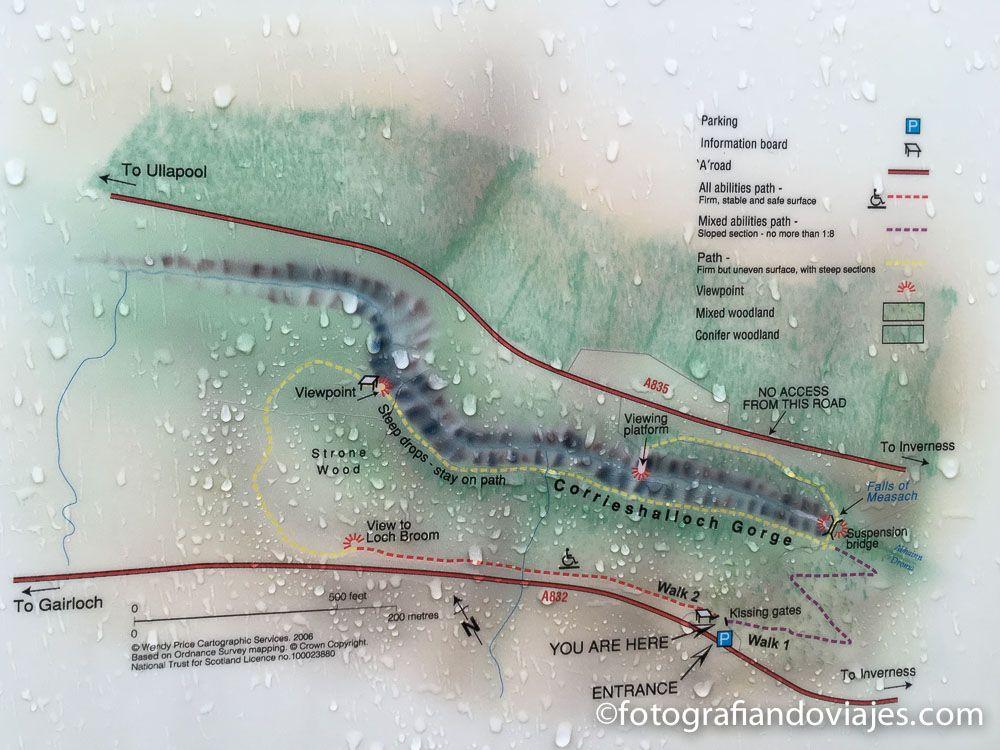 Plano de las cascadas Measach
