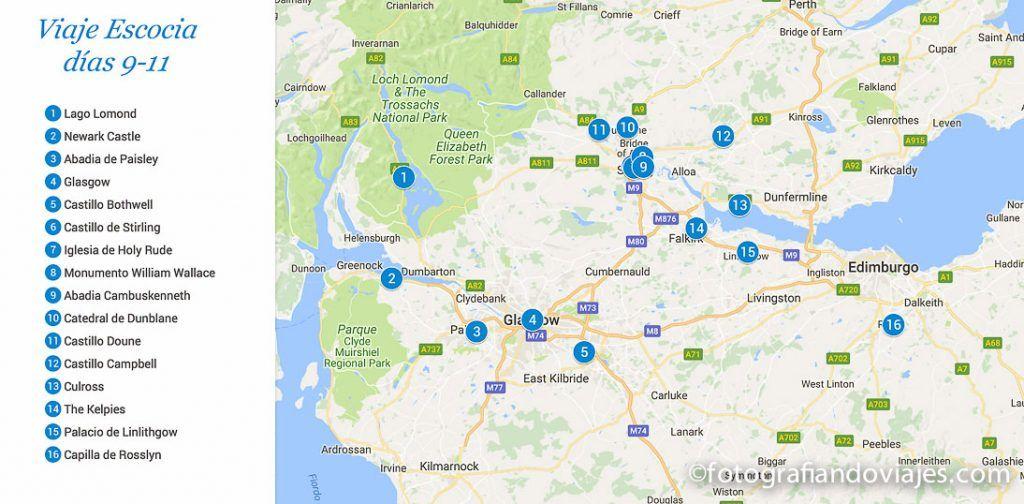 mapa viaje escocia 9-11