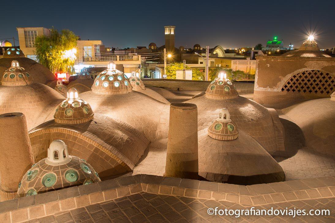 baños del Sultan Amir tejados al atardecer en kashan