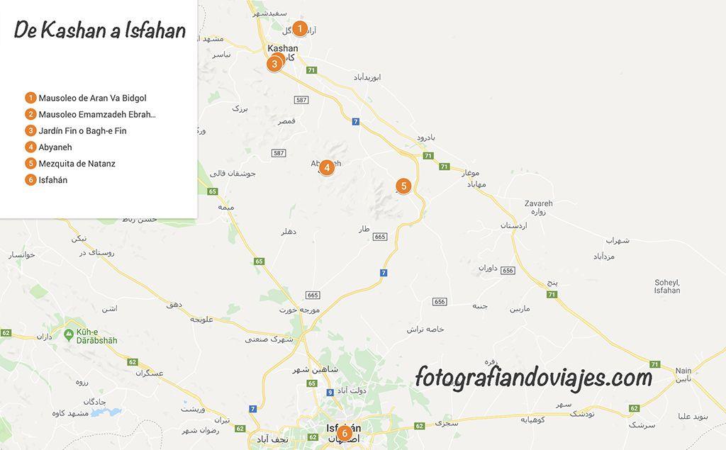 recorrido kashan a Isfahan
