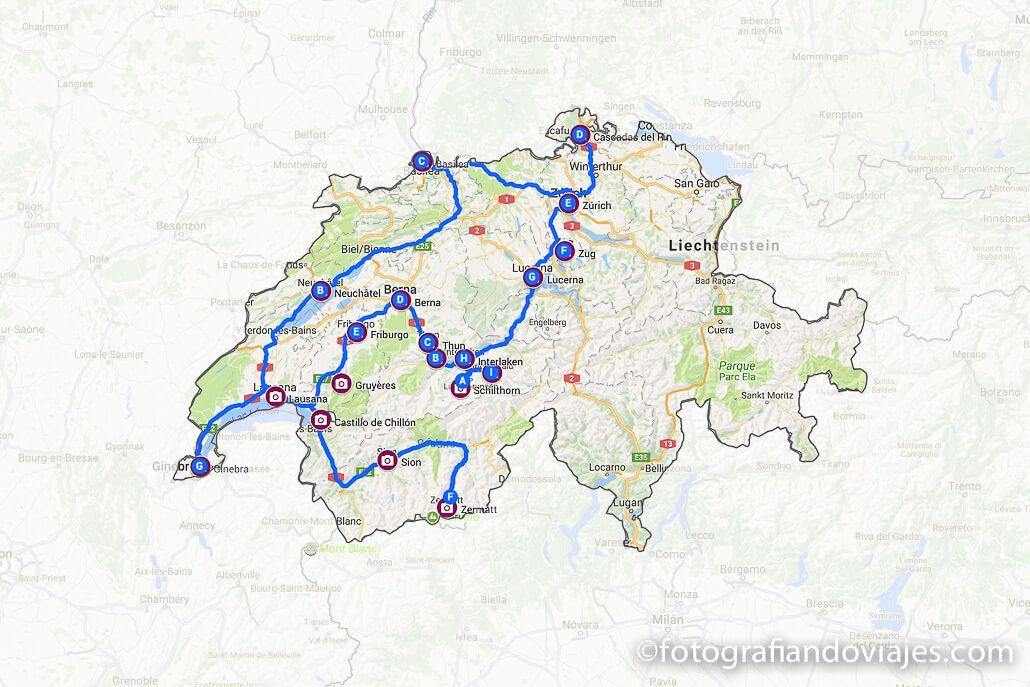 Recorrido o ruta de viaje por Suiza en coche