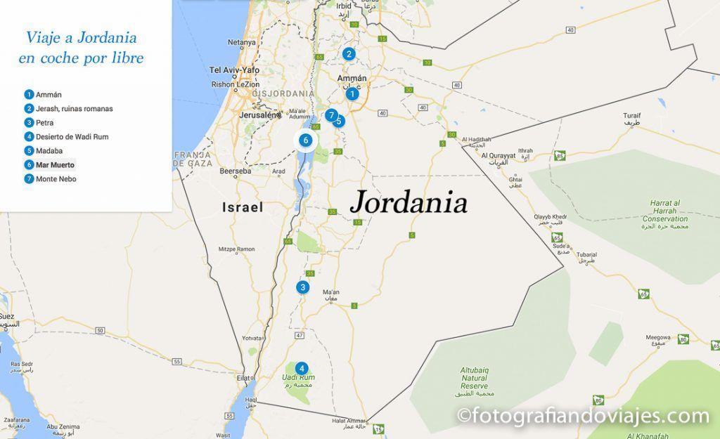 Recorrido viaje en coche por libre a Jordania
