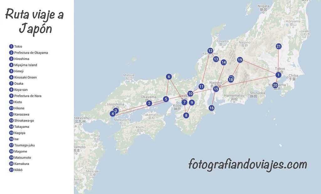 Ruta viaje por Japon en tren bala