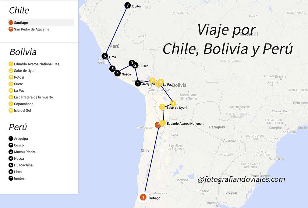 ruta viaje chile bolivia perú