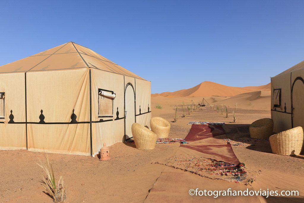 alojamientos en Marruecos, Campamento en el desierto Erg Chebbi