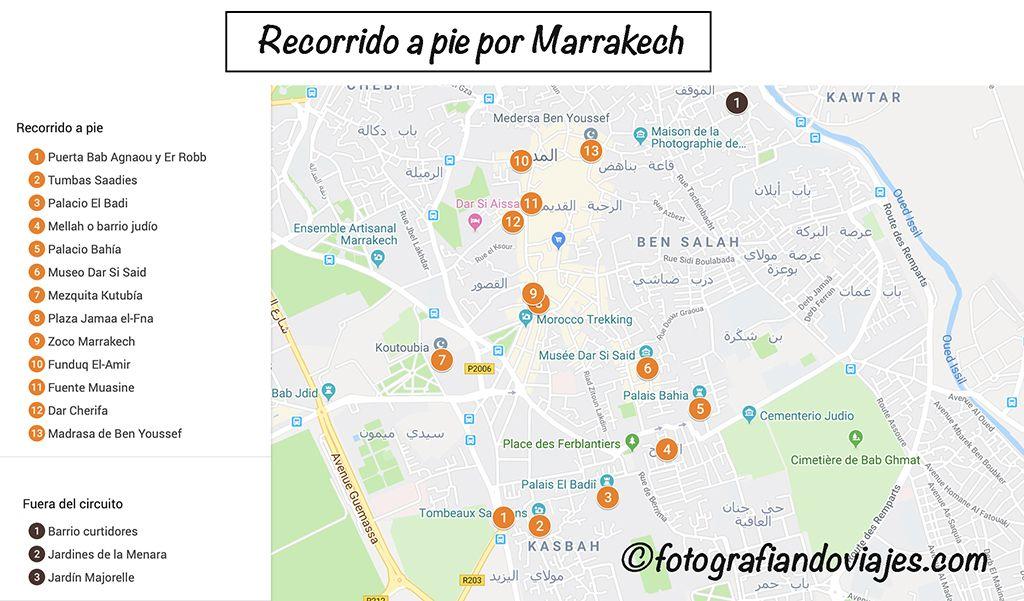 mapa recorrido a pie por Marrakech