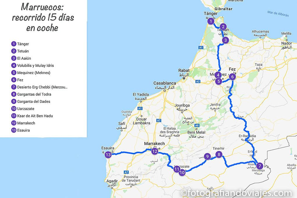 Ruta de viaje a Marruecos en coche de alquiler 15 días