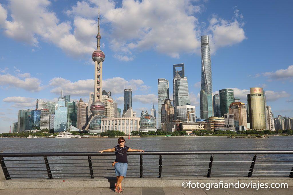 Atardecer en Pudong en Shanghai