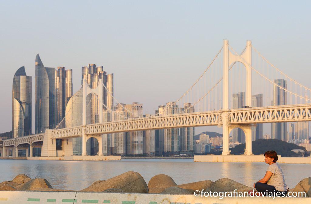 puente Gwangal y la playa Gwangalli de Busan
