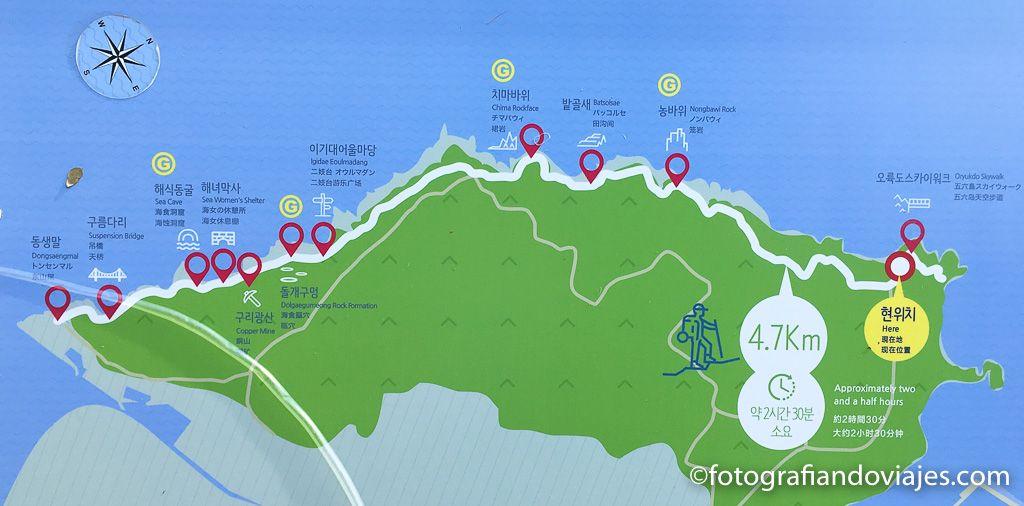 mapa o plano del parque costero Igidae en Busan