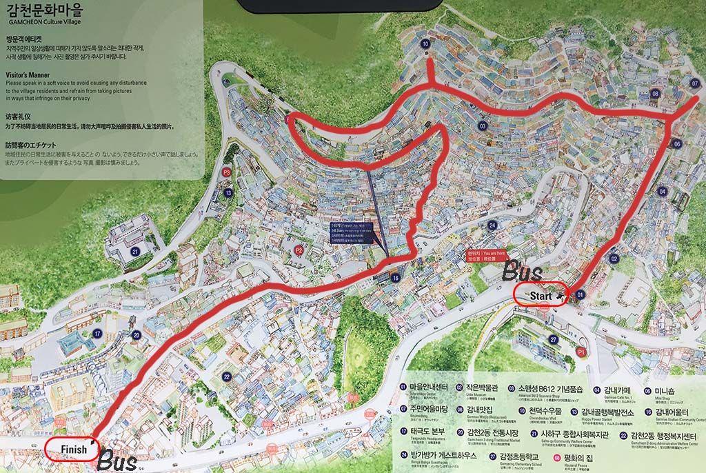 plano mapa recorrido gamcheon culture village