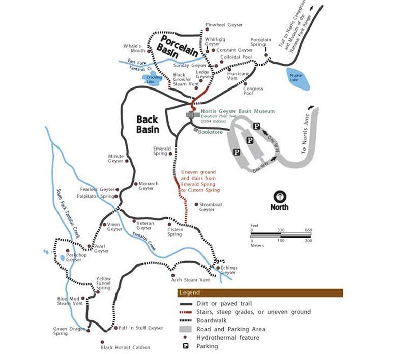 Mapa Norris geyser trail