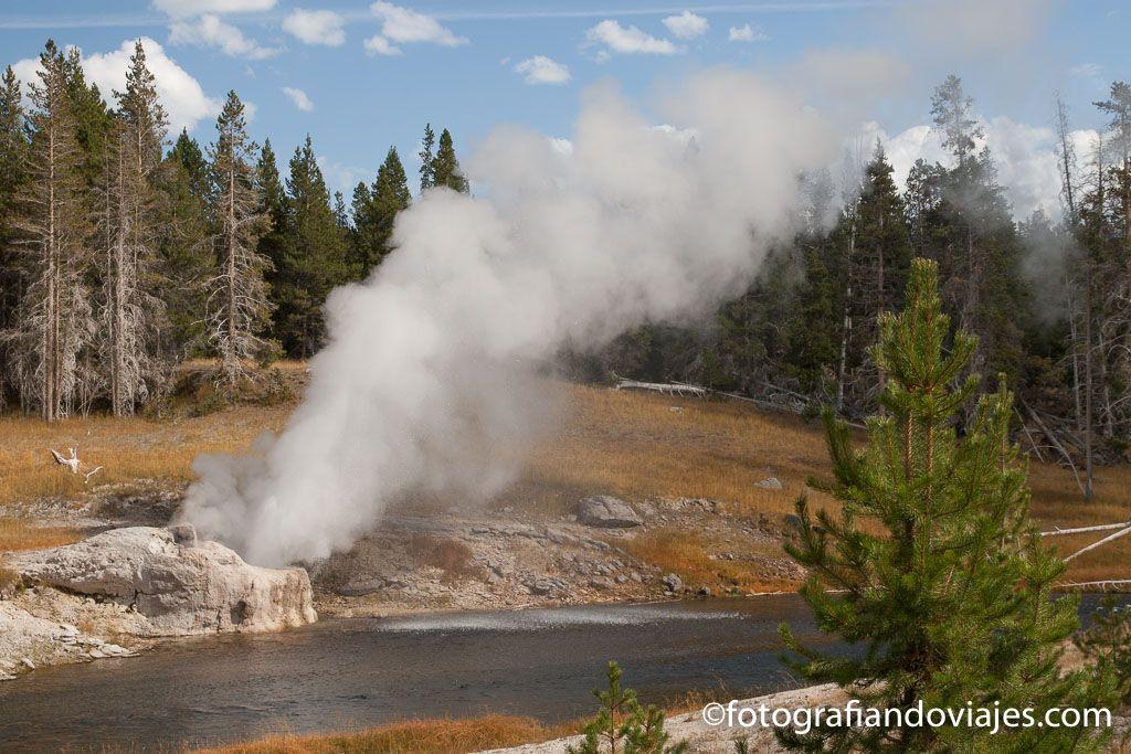 Riverside geyser parque nacional yellowstone estados unidos