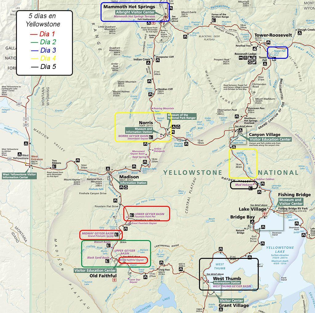 que ver en 5 dias en el parque Yellowstone