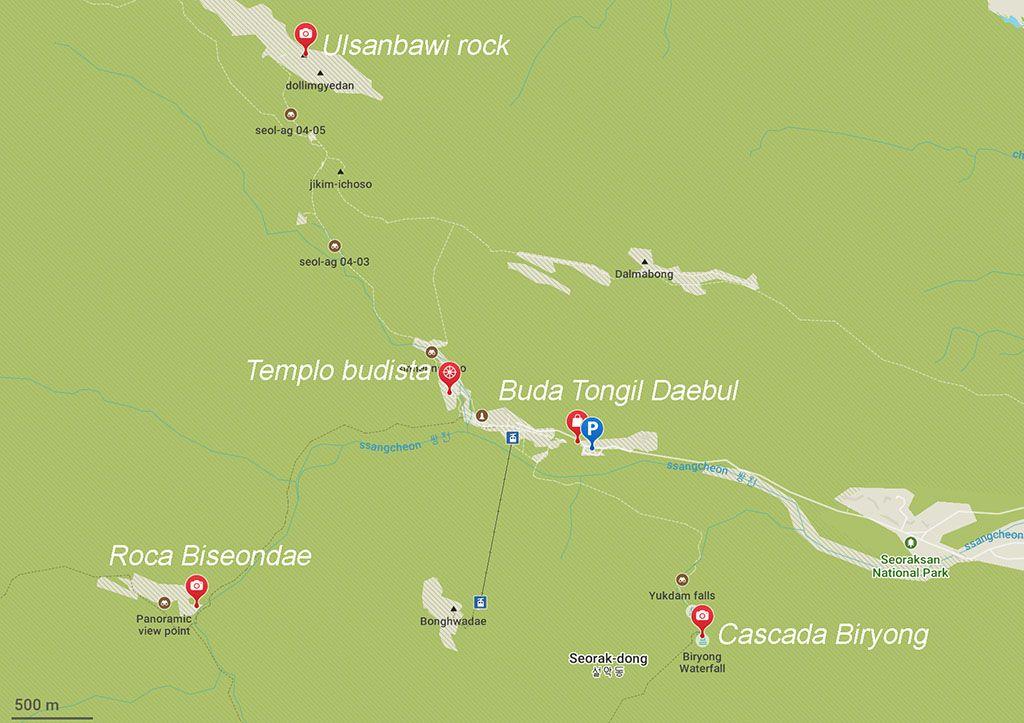 mapa caminatas Seoraksan