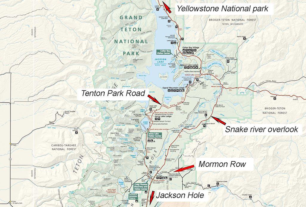 Grand Teton parque mapa