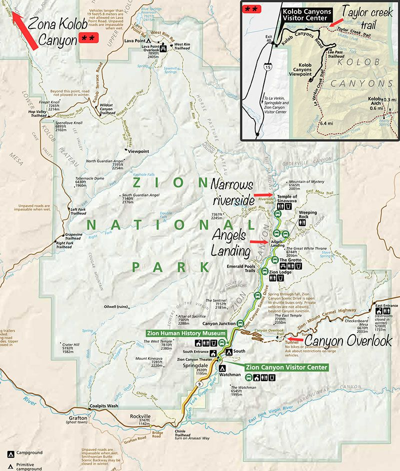 plano mapa zion caminatas