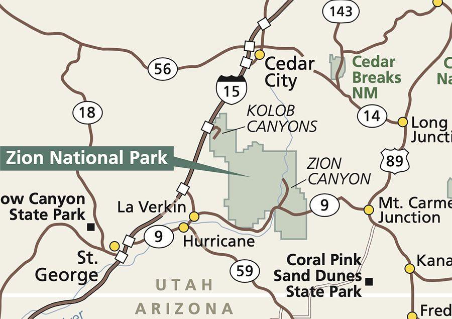 areas del parque nacional Zion