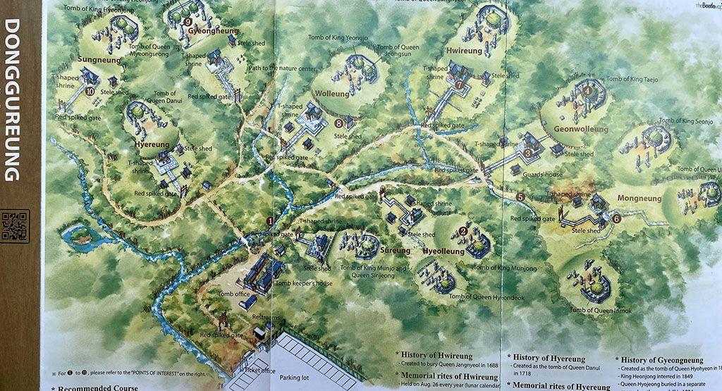 complejo tumbas joseon Donggureung mapa