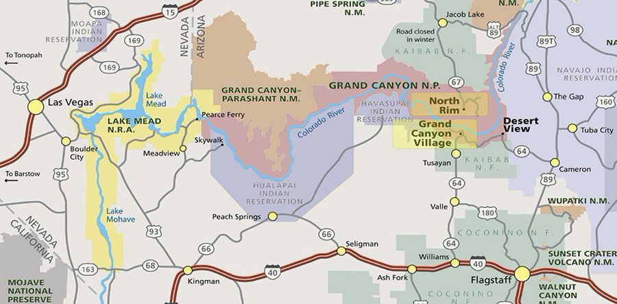mapa grand canyon colorado